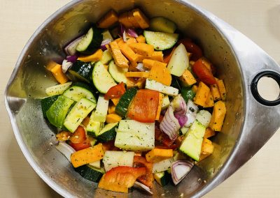 Gemüse für Lachs auf Gemüse